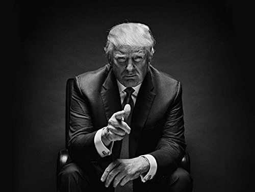 Morning Donald Trump Seduto in bianco e nero Poster di ferro Bar Pub Garage Diner Cafe Home Decor Home Decor Poster Art Retro Vintage Targa in metallo 20,3 x 30,5 cm