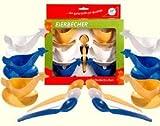 Ostprodukte-Versand.de Eierbecher in Huhnform 6X + 6 Löffel weiß, blau, gelb + DDR Produkte