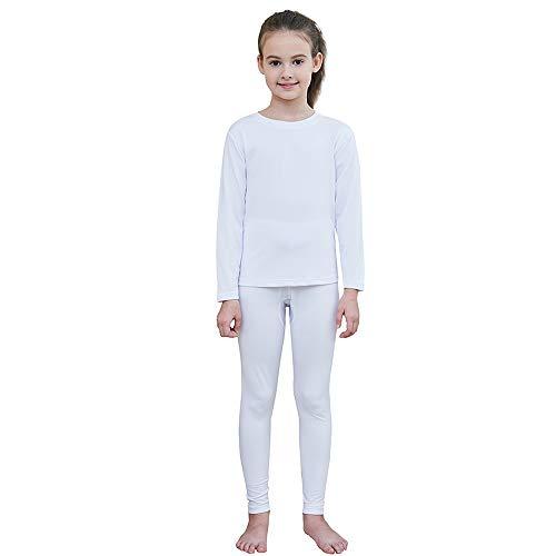 Thermo-Unterwäsche-Set für Mädchen, besonders weich, mit Fleece gefüttert, lange Unterhose, Thermo-Unterhemd, Winter, warm - Wei� - XL