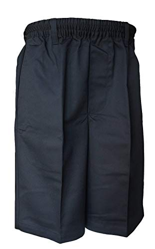 Benefit Wear Mens Full Elastic Waist Pull-On Shorts with Mock Fly (L, Black)