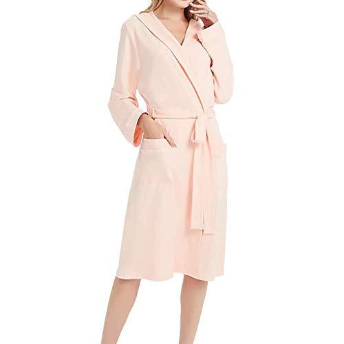 Pyjama Camisón con capucha para mujer, manga larga, cinturón de color sólido con bolsillo, bata de baño, camisón, camisón, camisón de verano, ropa de dormir acogedora lencería pijama