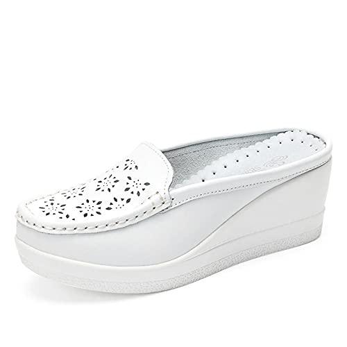 WUHUI Sandalias Verano Antideslizante Zapatillas, Sandalias Huecas de tacón de cuña, Zapatos Perezosos al Aire Libre-Blanco_38, Chanclas de para Hombre