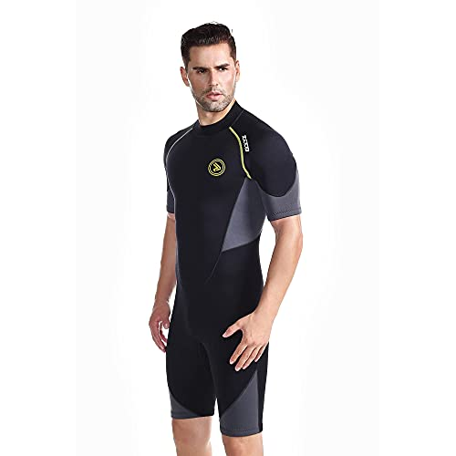 ZCCO Men's Shorty Wetsuits 1.5mm Premium Neoprene Back Zip Short Sleeve for Scuba Diving,Spearfishing,Snorkeling,Surfing (4X-Large)