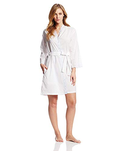 Eileen West Women's The Romantics Short Wrap Robe, White/Blue Scallop, 3X
