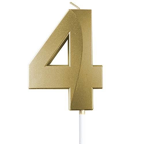 "saizone Velas de Números, Velas numéricas para Tarta de cumpleaños, Decoraciones para Tartas, Velas de cumpleaños, Color Dorado champán, decoración para Tartas con Purpurina 0-9.""4"""