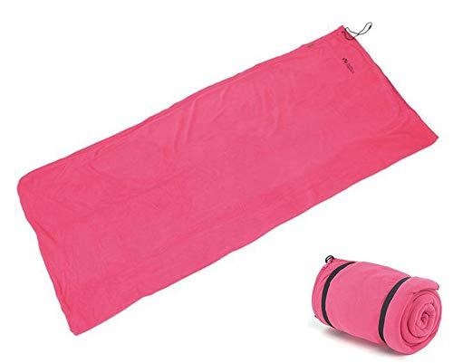 Envoltura Forro para Saco de Dormir, sábana de Camping para Saco de Dormir Forro de sábana de Viaje con Bolsa de Transporte,Pink