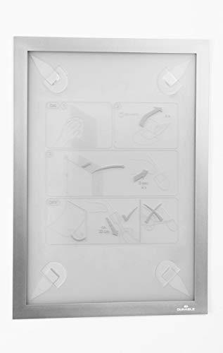 Durable 484323 Info-Rahmen Duraframe Wallpaper (A4, mit Magnetverschluss, inkl. Klebestreifen für sensible Oberflächen, rückstandslos ablösbar) 1 Stück silber