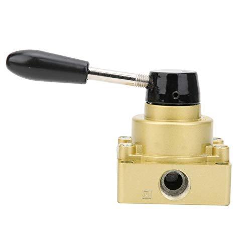 LANTRO JS - HV-04 BBSP Válvula neumática de aire de 1/2 pulgada, 3 posiciones, 4 vías, válvula de palanca manual mecánica neumática de tracción manual