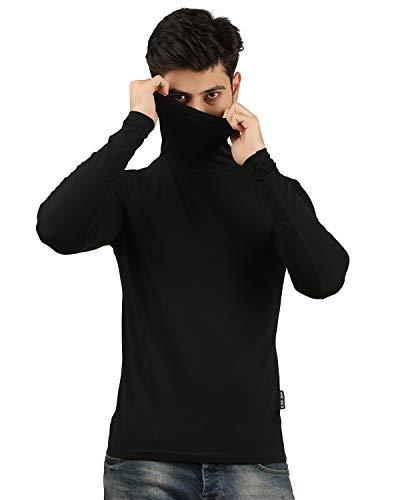 Trus Tee Solid Men's Turtle Neck Mask T Shirt/Men's Black T Shirt (Black, Medium)
