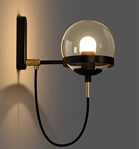 Lámpara de techo Luz de pared LED dentro de la lámpara de pared moderna, incluida la bombilla E27 Lámpara de pared de cristal de retoque vintage Iluminación blanca cálida (Negro) [Clase de eficiencia