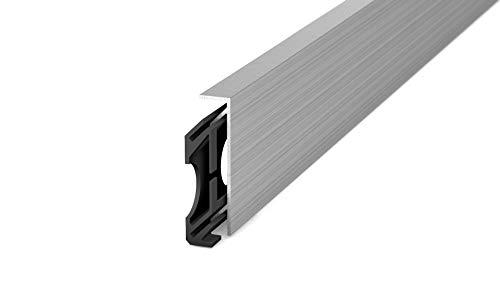 Prinz Aluminium-Sockelleiste Cultus45 - Nr. 352 - Edelstahl gebürstet - 60 x 14 mm (Sockelleiste)
