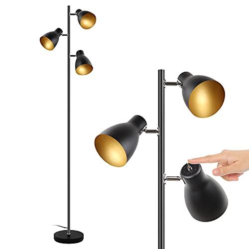lampadaire vintage, 3 spots orientables,Interrupteur de commande indépendant ,Osasy lampe à pied design rétro, ampoules E14 LED ou halogène, hauteur 168 cm, métal noir doré