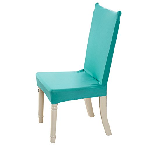 uxcell Dining Chair Covers, Stretch Bar Stool Slipcover Kitchen Chair Protector Spandex Short Chair Seat Cover for Home Decorative/Dining Room/Party/Wedding (Medium,Teal)