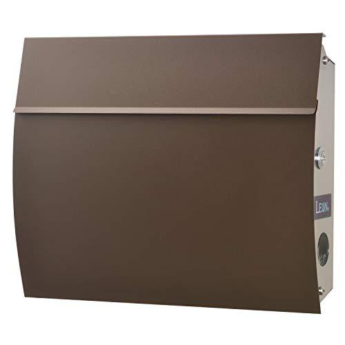 LEON (レオン) MB4801 郵便ポスト 壁掛けタイプ ステンレス製 鍵付き おしゃれ 大型 ポスト 郵便受け (マグネット付き) (MAIL BOXシート無し) チョコレート