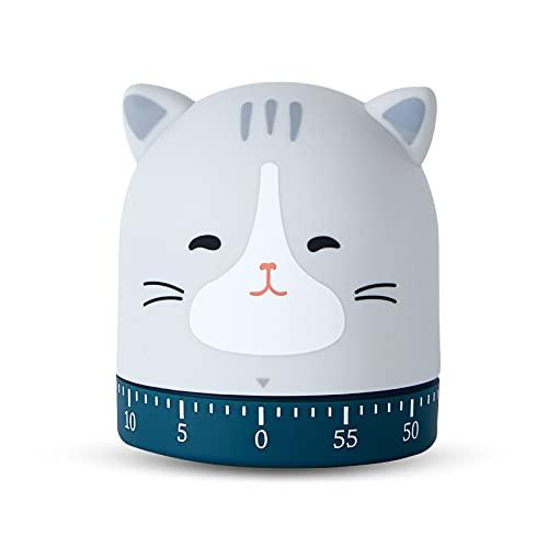 Mlysnd Temporizador Animales, Precioso Diseño Temporizador de Huevo Reloj Digital Cocina, Adecuado para Niños y Ancianos, se Puede Utilizar para Cocinar Hornear (67x60x60mm, Gato)