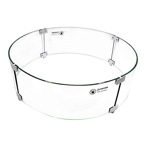 Skyflame 24' Fire Pit Glass Wind Guard, Round