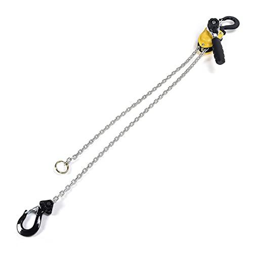 Lever Block, Mini Puller Lever Chain Hoist Ratchet Lever Hoist Pulley Block Chain Rotate 360 Degrees Manual Lever Hoist with Hook Installation for Workshops