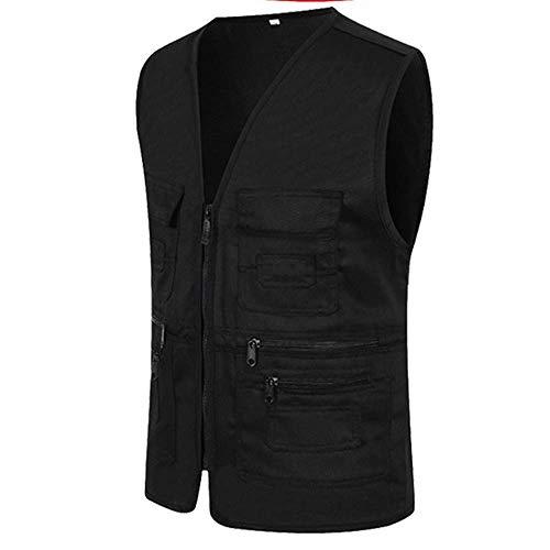 UJUNAOR Männer Ärmellose Cargo Jacke Multi-Pocket-Jackenmantel für Herren(Schwarz,CN 3XL)