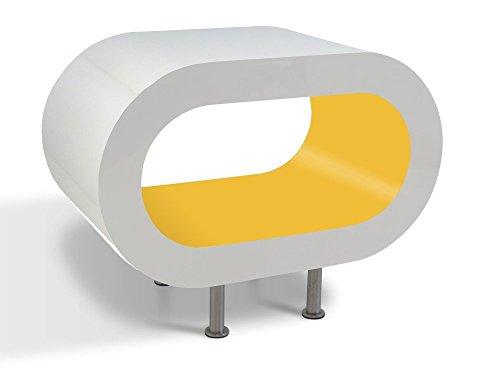 Zespoke Design Blanc Brillant Mat Hoop Jaune Table Basse TV/Meuble en Différentes Tailles
