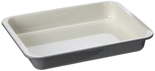 Zenker Grill- und Ofenform Emaille (40 x 5,5 x 29 cm) SPECIAL COOKING, rechteckige Backform mit Emaille-Versiegelung, Bräterform für krosse Braten & saftige Aufläufe (Farbe: Creme/Grau), Menge: 1 Stüc