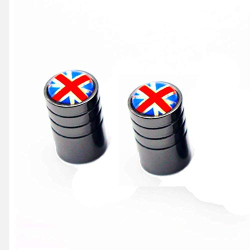 London Craftwork Tapas de tubo interior de válvula de aluminio para BROMPTON Black Union Jack (PAIR)