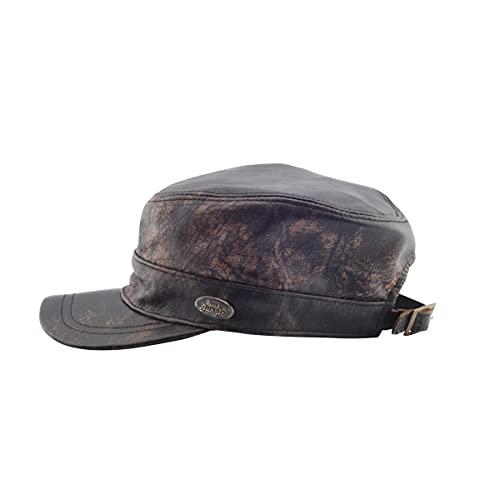 Black Jungle CASTRO Army Cap Leder cap Military cap Biker Kappe, One-Size (Tan, Einheitsgröße)