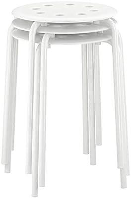 Ikea Marius Steel, Epoxy Powder Coating Stool (White), Set of 1