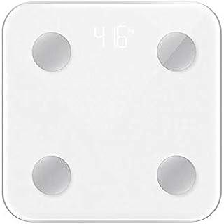 Báscula de peso inteligente para baño digital con Bluetooth, BMI, fitness, monitor de salud con pantalla LCD retroiluminada, báscula de pesaje (color: blanco)