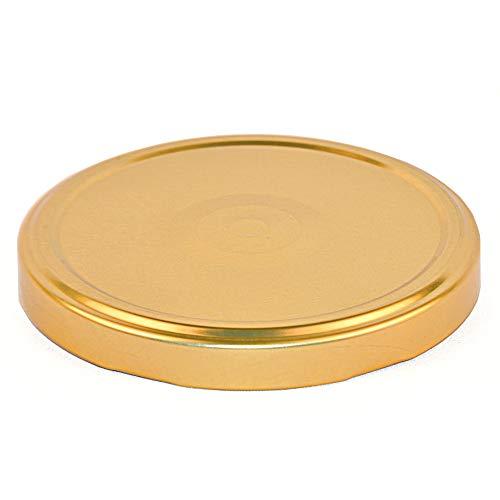 20 St. Ersatzdeckel Twist-Off-Deckel 100 mm Gold mit Button für Gläser und Glasflaschen, Milchflaschen und Einmachgläser, Deckel für Marmeladen, Honig, Feinkost, Gewürzgläser mit Gebrauchsanweisung