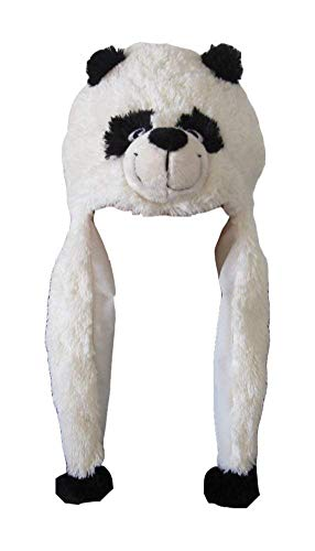 ZooPurrPets Unisex Plush Animal Hats with Poms - Warm, Soft, and Cozy (Panda)