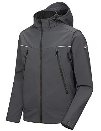 Little Donkey Andy Men's Waterproof Softshell Jacket with Detachable Sleeves and Hood, Fleece Mountain Ski Snow Rain Coat Gray Size S