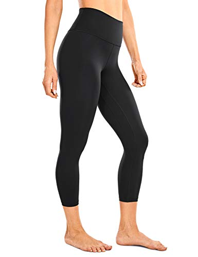 CRZ YOGA Women's High Waisted Workout Leggings Yoga Capris Yoga Crop - Naked Feeling Soft - 21 Inches Black Small