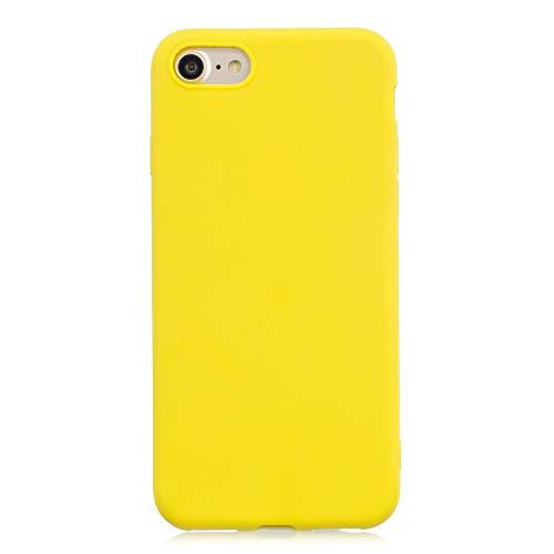 cuzz Custodia iPhone 7/8+{Film di Vetro temperato}Silicone TPU Cover Morbida Protettiva Custodia Ultra Sottile Leggero Cover-Giallo