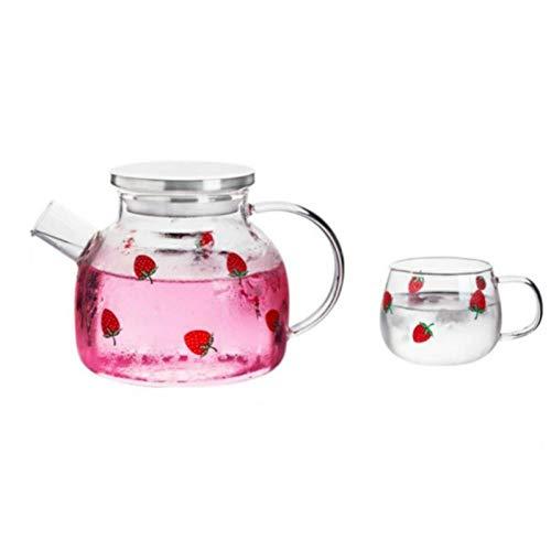 1L / 1 8L verano grande transparente tetera de vidrio de borosilicato tetera tazas de té de frutas un juego de hervidor de agua de oficina jarra de vidrio-1 tetera 1 taza