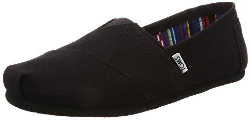 TOMS Women's Classic Alpargata Slip-On Shoe Black On Black Canvas 8.5 M