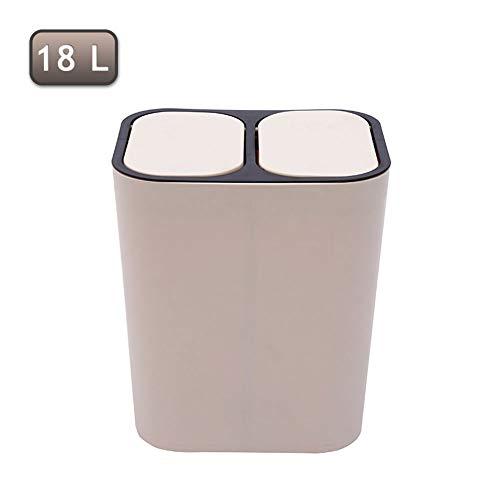 LXXTI plastic vuilnisbak/vuilnisbak 4 Gallon (18L), recyclingafval met dubbel vak, geclassificeerd recyclingmateriaal, pak voor badkamer keukenkantoor, binnen en buiten