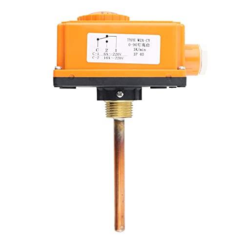 0-90 ° C Controlador Temperatura Inicio Alta Temperatura Tubería Agua Caliente Tubería Termostato Interruptor Control G1/2 Rosca Macho