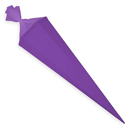 itenga Bastelschultüte 85 cm eckig Schultütenrohling mit Tüllverschluss (Lila)