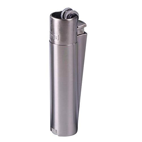 Clipper Metall Gas-Feuerzeug (Silber matt) mit SOFORTGRAVUR +VORSCHAU: Gravur inklusive (Gasfeuerzeug nachfüllbar)