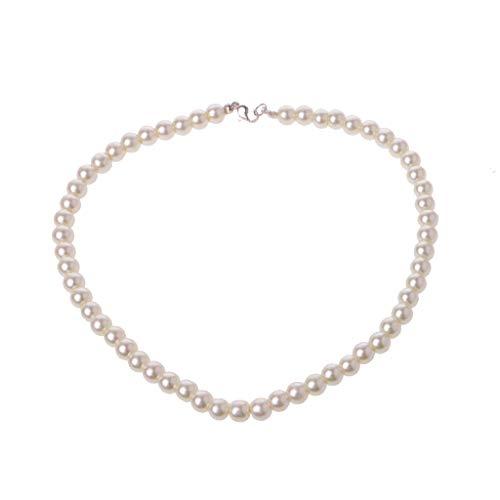 NKYSM Stilvolle Halskette Elegante Elfenbein Weiß Glas Nachahmung Süßwasser Perlenketten für Frauen Jewerly für Frauen Mädchen Mom Geschenke