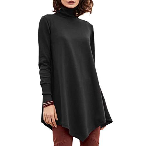 Buby Damen Rollkragen T-Shirts Pullover Sweater Classic Slim Fit Langarm Jumper Frauen Pure Farbe Langer Saum Lässig Basic Baumwolle Fleece Sweatshirt Knitwear Bluse Mantel Outwear Tops Tunika