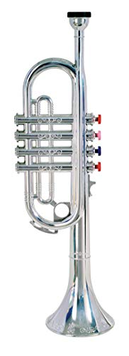 Bontempi 32 4231 Trompete mit 4 farbigen Tasten/Noten, Silber