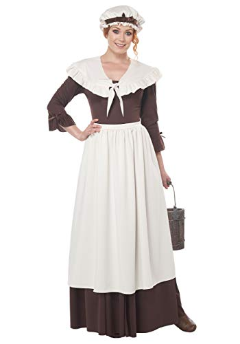 California Costumes Colonial Village Woman Adult Costume-Small Brown/White