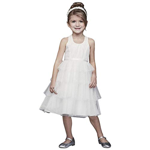 Point d Esprit Flower Girl/Communion Dress with Heart Detail Style CR1397, Soft White, 2T