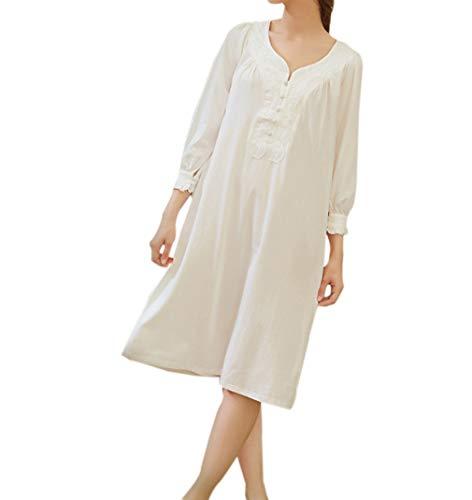 Rétro Femme Manches Longues Chemise de Nuit en Dentelle Enceinte Robe Simple Pyjama(Blanc/S)