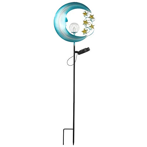 TreeLeaff Solar Lights Garden Outdoor Blue Crescent with Stars,waterproof Led Cartoon Wrought Iron Pathway Decorative Lights Crackle Glass Ball Stake Light for Walkway,yard,lawn,patio