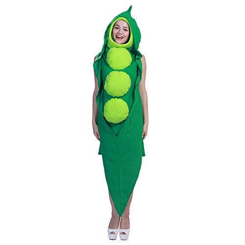 SanQing Erwachsener Neuheit Leichte Erbse Kostüm Schule Leistung Kostüm Masquerade Cosplay Unisex PEA Kostüm Grün