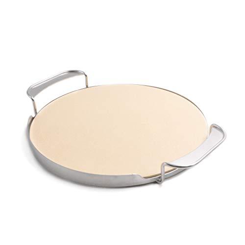Onlyfire φ33,52cm Pizzastein mit Griffhalterung für Pizzaofen, Gasgrill, Holzkohlegrill, Kamado, für Weber Gourmet BBQ System
