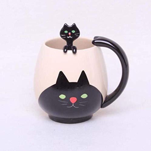 LIZANAN Taza de cerámica de cerámica pintada a mano taza de café de dibujos animados encantadora taza de cerámica china taza de té incluye cuchara taza