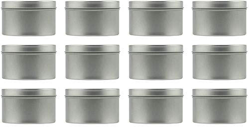 8-Ounce Round Metal Tins 12-Pack For Candles Arts Crafts Storage More